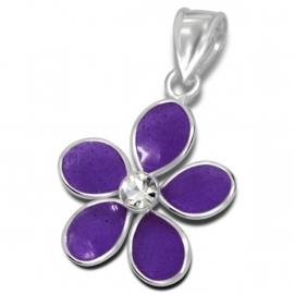 Leuke paarse bloem met zirkonia hanger IB15157