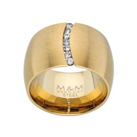 Goudkleurige Brede Ring met Zirkonia Rij van M&M