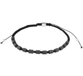 Zwarte Koord Armband met Hematiet Stenen