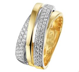Decoratieve Geelgouden met Witgouden Ring met Diamanten