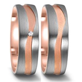 Zilveren Trouwringen Set met Golvende Roségouden Lijn en Diamant