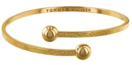 Gehamerde Goudkleurige Cuff Armband met Zirkonia's van Tommy Hilfiger