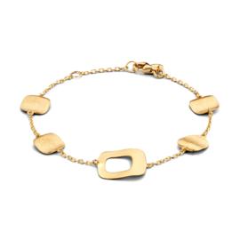 Excellent Jewelry Geelgouden Armband met Vierkante Plaatjes
