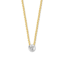 Excellent Jewelry Witgouden Collier met Diamant Rondje