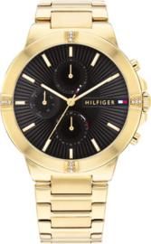 Tommy Hilfiger Goudkleurig Dames Horloge met Zwarte Wijzerplaat