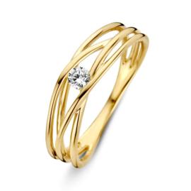 Excellent Jewelry Geelgouden Ring met Slanke Lijnen en Zirkonia