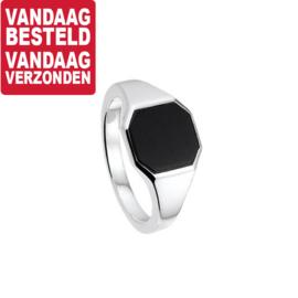 Slanke Zilveren Zegelring met Zwarte Onyx Steen / Maat 19