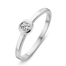 Excellent Jewelry Witgouden Ring met Rond Zirkonia Plaatje
