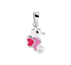 Zeepaard Hanger van Zilver met Roze Emaille