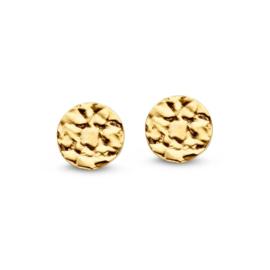 Excellent Jewelry Gehamerde Coin Oorstekers van Geelgoud