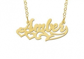 Names4ever Amber Stijl Gouden Naamketting