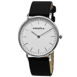 Prisma Verfijnd Zilverkleurige Dames Horloge met Zwarte Horlogeband