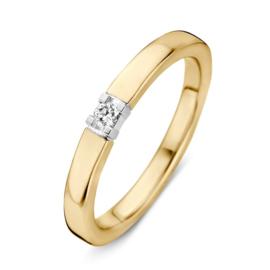 Excellent Jewelry Geelgouden Ring met 0,09crt. Diamant