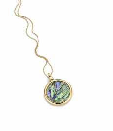 Gouden 24mm Medaillon met Groene Abalone Insignia en Ketting van MY iMenso Gold