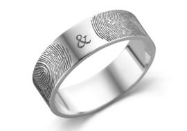 Zilveren ring met twee vingerafdrukken | Names4ever