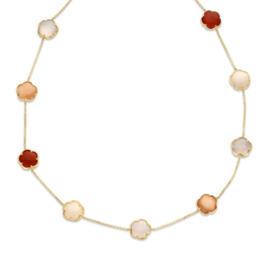 Excellent Jewelry Geelgouden Schakelcollier met Edelstenen