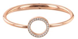 Roségoudkleurige Open Zirkonia Cirkel Bangle Armband van Tommy Hilfiger