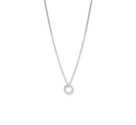 Witgouden Anker Collier met Opengewerkte Diamant Cirkel