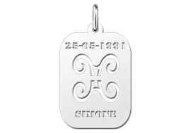 Names4ever Astrologie Tweelingen Zilver Hanger ZHS003