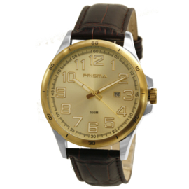 Prisma Heren Horloge met Goudkleurige Rand en Bruine Horlogeband