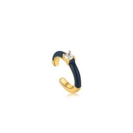 Ania Haie Bright Future Goudkleurige Ear Cuff met Blauwe Emaille