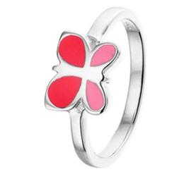Zilveren Ring met Vlinder met Rode Emaille