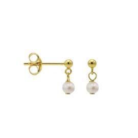 Goudkleurige Oorhangers met Witte Ronde Parel | Karma Jewelry