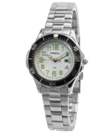 Frank Kids Horloge met Edelstalen Horlogeband en Groene Cijfers