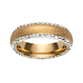 Goudkleurige Ring met Gediamanteerd Oppervlak van M&M
