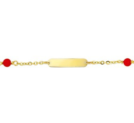 Graveer Baby- Kinderarmband Bloedkoraal Anker plaat 4,0 mm 13 cm