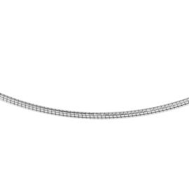 Rond Witgouden Omega Collier | Dikte: 1,25mm Lengte: 42cm