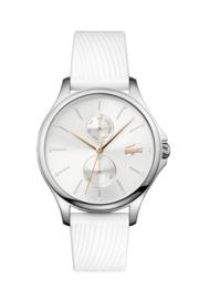 Lacoste Kea Dames Horloge met Wit Lederen Horlogeband