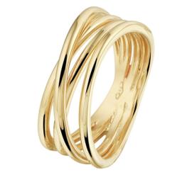 Meerdere Stroken Geelgouden Dames Ring