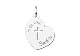 Names4ever Heilige Communie Zilveren Hart Hanger met Kruis