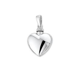 Zilveren Hart Urn Hanger met Rhodium - Memorie Sieraad