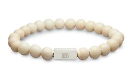 Essential Silver   Witte Jade Kralen Armband van Blaauw Bloed