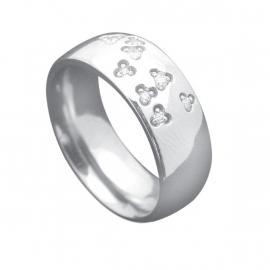 Ring met Kleurloze Zirkonia's van C MY STEEL - Graveer Ring