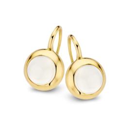 Excellent Jewelry Geelgouden Oorhangers met Witte Maansteen