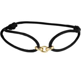 Zwarte Armband met Gouden Schakels