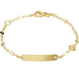 Gouden Graveer Kinderarmband Hartje 2,5 mm 9 - 13 cm
