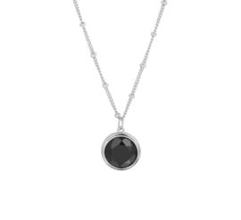 Zilveren Collier met Zwarte Onyx Edelsteen