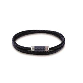 Tommy Hilfiger Donkerblauwe Leren Armband met Stalen Kopstuk