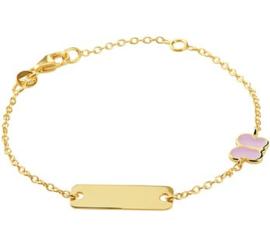 Gouden Graveer Kinderarmband Roze Vlinder plaat 5 mm 12 – 14 cm