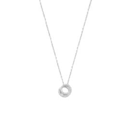 Zilveren Collier met Rondjes en Zirkonia