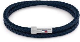 Gevlochten Armband van Blauw Leder met Edelstalen Sluiting van Tommy Hilfiger