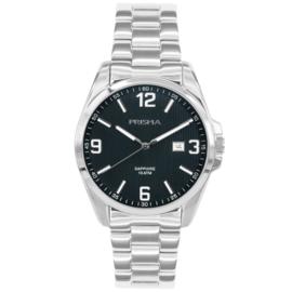 Prisma Edelstalen Heren Horloge met Schakelband en Blauwe Wijzerplaat