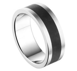 Brede Vlakke Edelstalen Ring met Donker Carbon - Graveer Ring