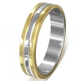 Graveer ring / Goud met zilver kleurige 3 band SKU51809