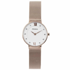 Roségoudkleurig Dames Horloge van Edelstaal met Milanese Band