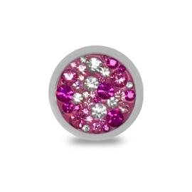 LOCKits Zilverkleurige Munt met Witte en Roze Zirkonia's 25mm